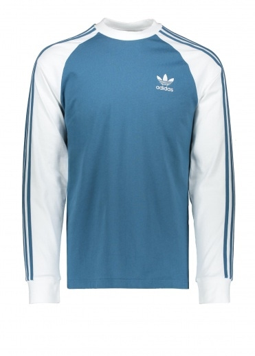 Adidas Originals Apparel 3-Stripes LS Tee - Blanch Blue
