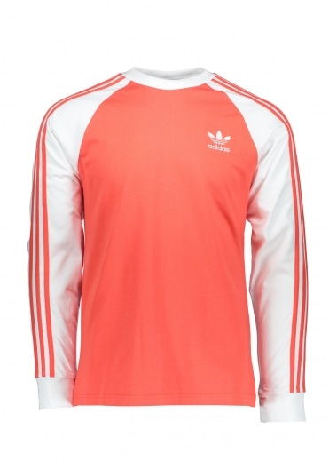Adidas Originals Apparel 3-Stripes LS Tee - Brick Red