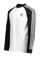 adidas Originals Apparel 3 Stripes LS Tee - White / Black