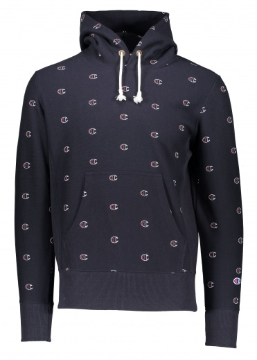 Champion All Over Logo Hoody - Navy