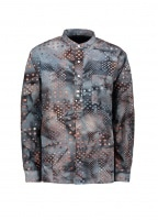 Beams Plus Band Collar Batik Print Shirt - Black