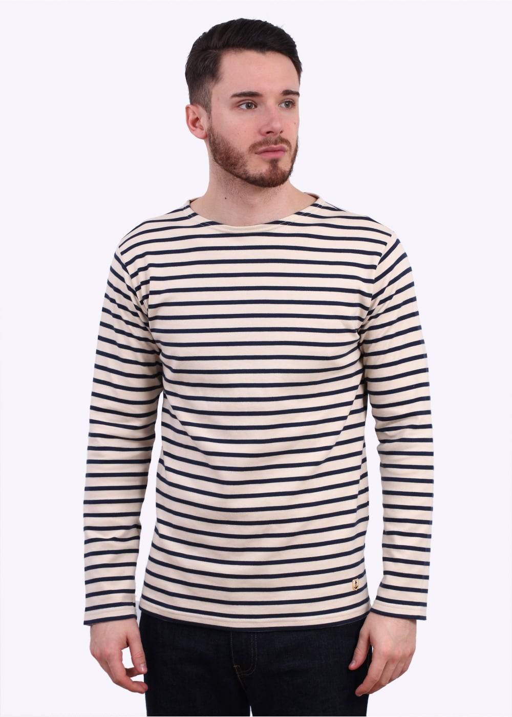 armor lux breton t shirt cream navy. Black Bedroom Furniture Sets. Home Design Ideas