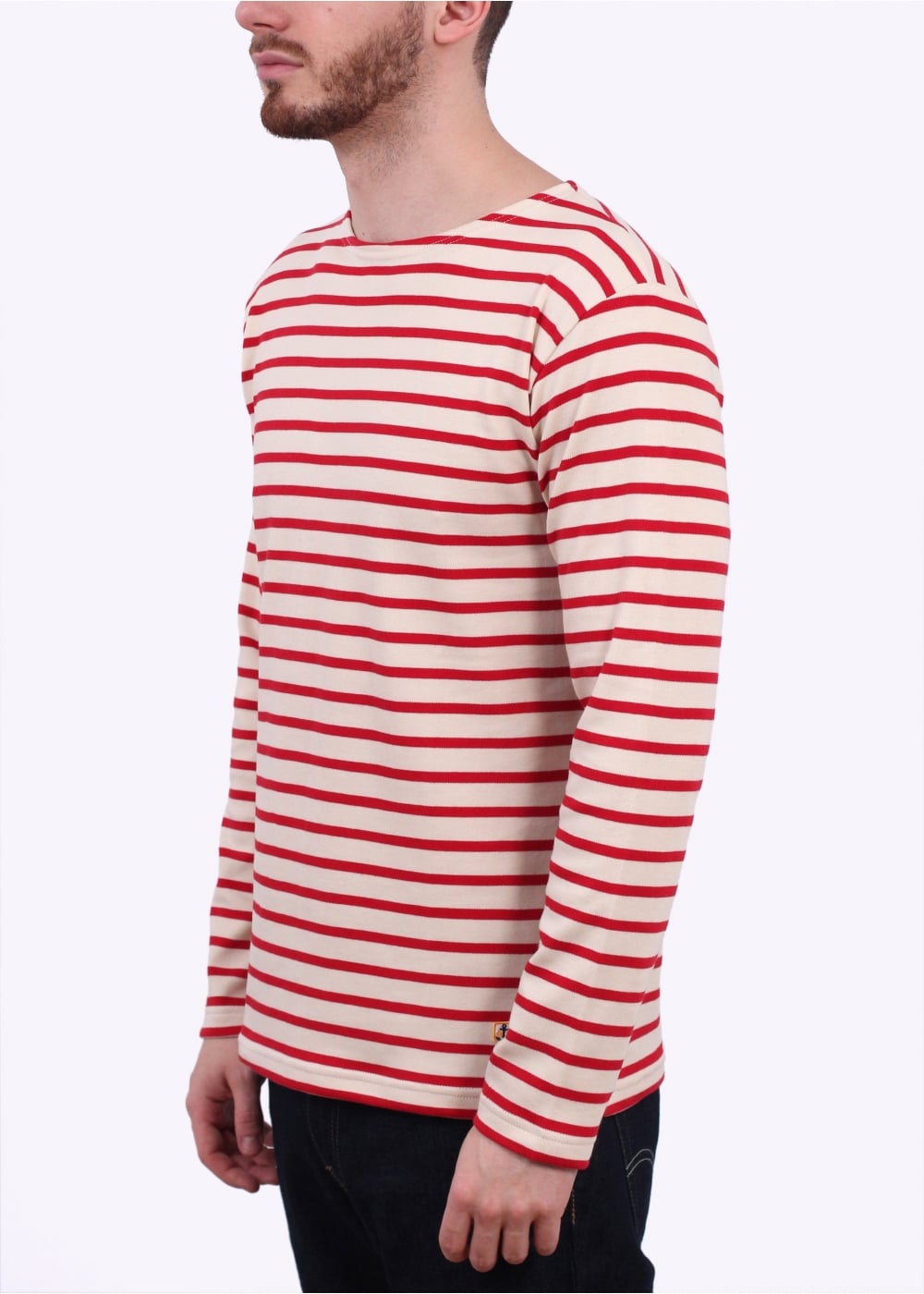 armor lux breton t shirt cream red