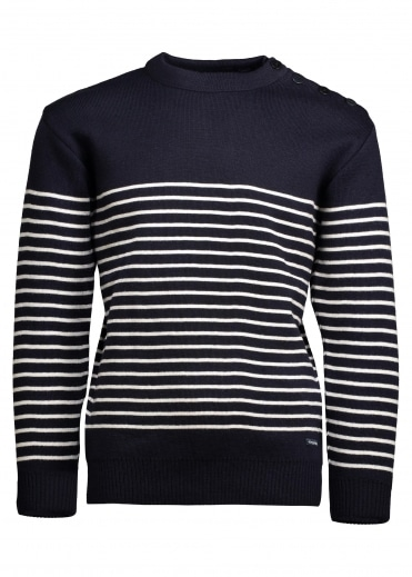 Armor Lux Button Shoulder Half Stripe - Navy