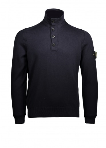 Stone Island Button Up Knit - Navy Blue