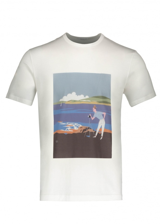 Sunspel Camera Man Scene T-Shirt - White