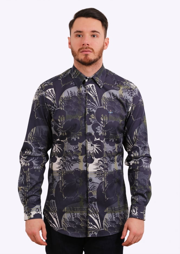Classic Cutaway Pattern Shirt - Blue
