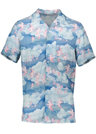 Stussy Cloud And Birds Shirt - Blue