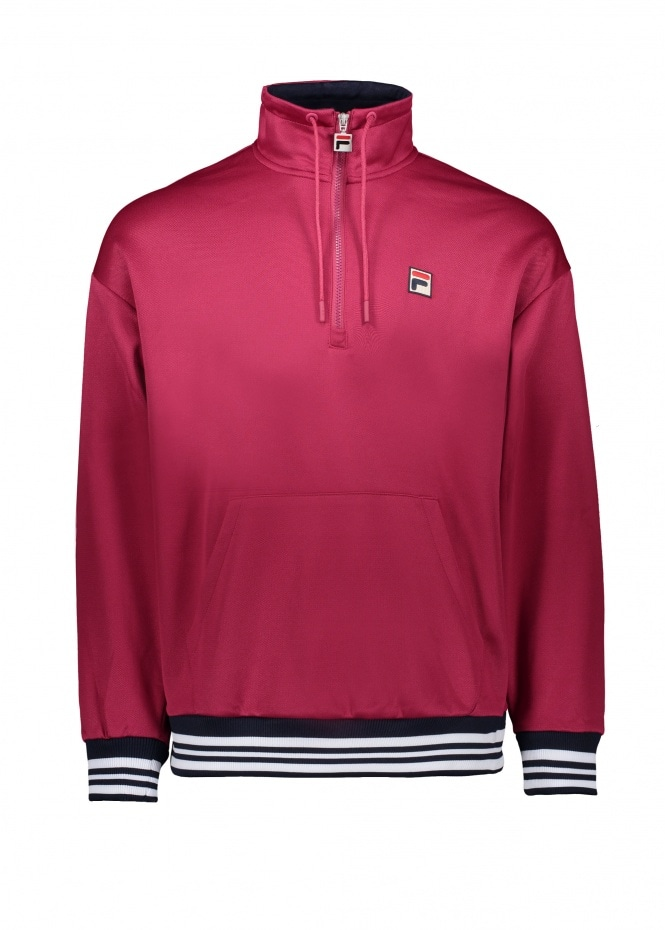 FILA Cole 1/2 Zip Flannel Sweat - Sangria / Peacoat