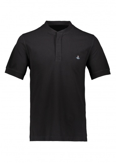 Vivienne Westwood Mens Collarless Polo Shirt - Black