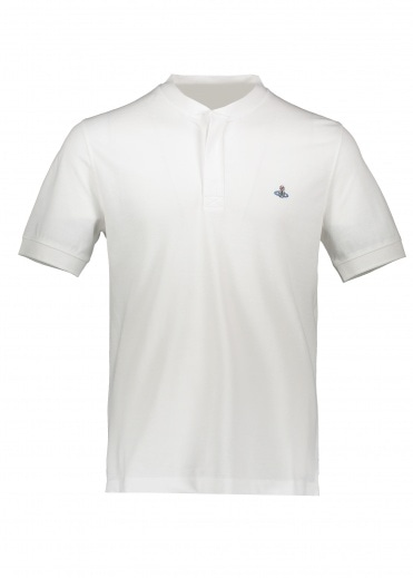 Vivienne Westwood Mens Collarless Polo Shirt - White