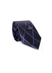 Cross Check Pattern Tie - Navy Blue