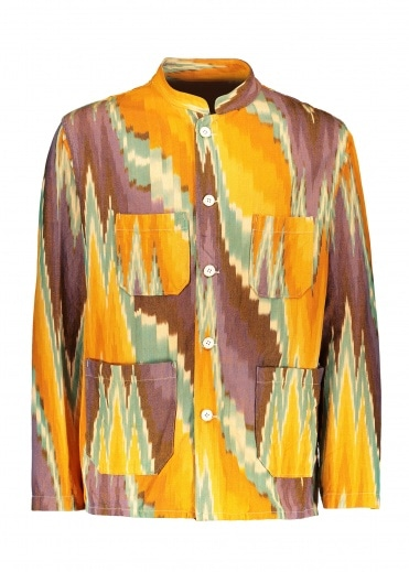 Engineered Garments Dayton Shirt - Yellow / Green Ikat