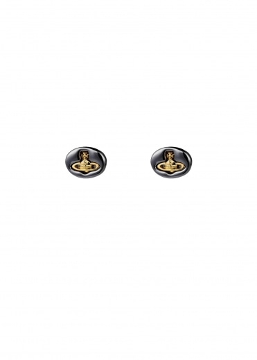 Vivienne Westwood Accessories Embossed Logo Stud Earrings - Gunmetal