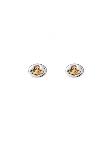 Vivienne Westwood Accessories Embossed Logo Stud Earrings - Rhodium / Gold