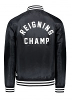 Embroidered Stadium Jacket - Black