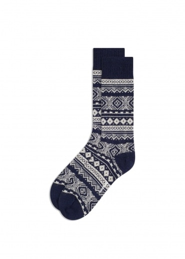 Barbour Fairisle Socks - Navy