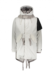 Fishtail Military Parka - White / Grey