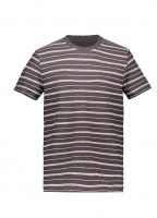 SS Textured Stripe Tee - Charcoal