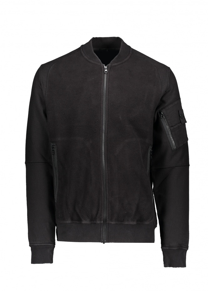 Gauzed Heavy Fleece Bomber - Black
