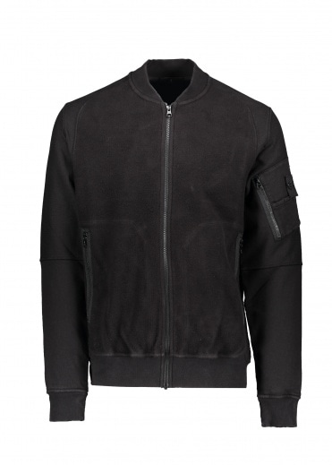 Stone Island Gauzed Heavy Fleece Bomber - Black