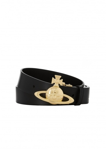 Vivienne Westwood Accessories Gold Orb Buckle Belt - Black
