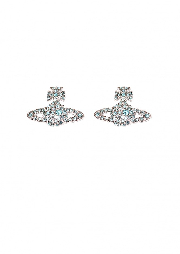 Grace BR Stud Earrings - Rhodium/ Aqua