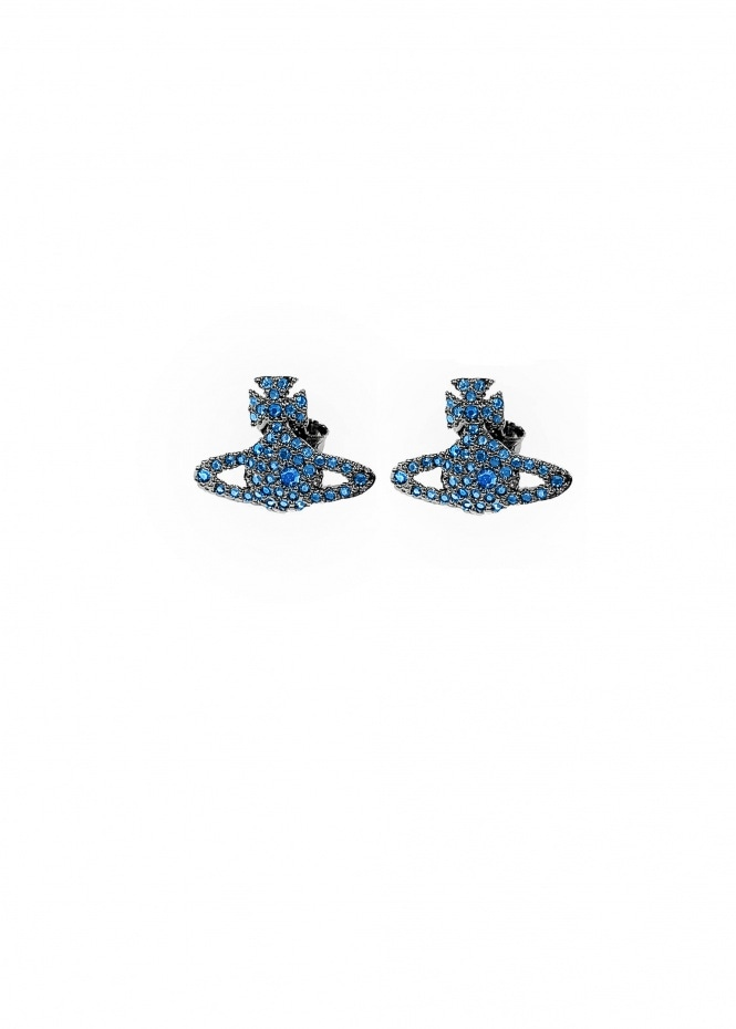 Grace BR Stud Earrings - Ruthenium / Capri Blue