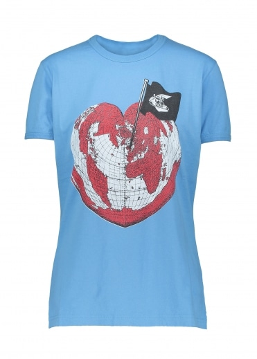 Vivienne Westwood Anglomania Heart World Print Tee - Baby Blue