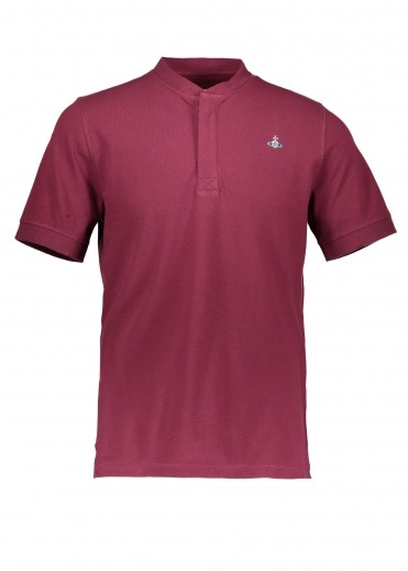 Vivienne Westwood Mens Henley Polo - Burgundy