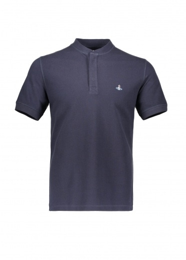 Vivienne Westwood Mens Henley Polo - Navy Blue