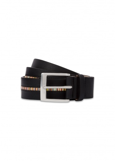 Paul Smith In Stripe Belt - Black