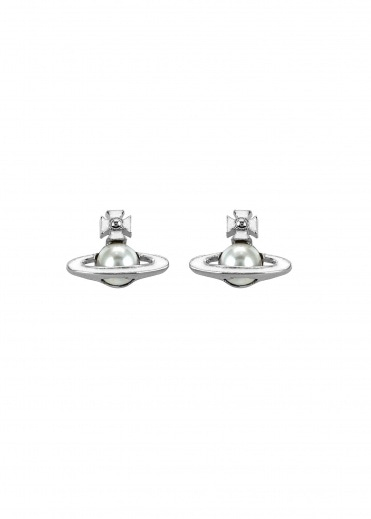 Vivienne Westwood Accessories Iris Bas Relief Earrings - Rhodium