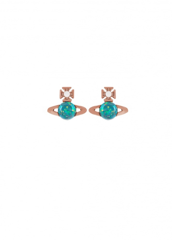 Isabelitta Bas Relief Earrings - Pink Gold / Blue