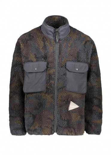And Wander  Jacquard Boa Jacket - Khaki