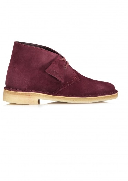 Clarks Originals Ladies Desert Boot Suede - Bordeaux