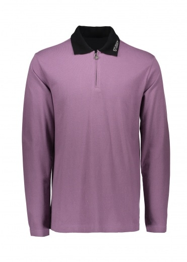 Stussy Lion LS Zip Polo - Purple