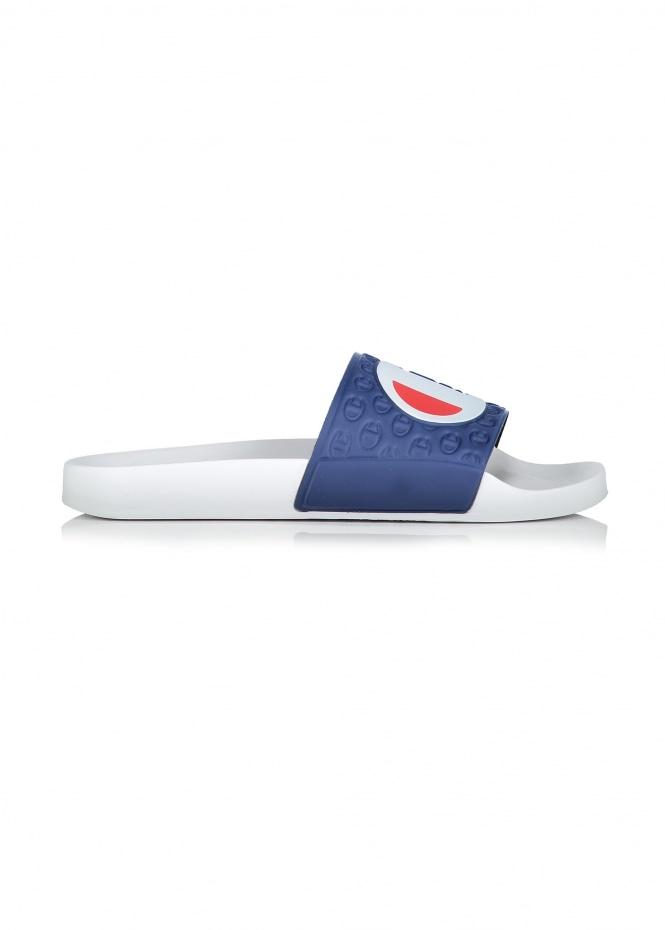Champion Logo Slides - White / Navy