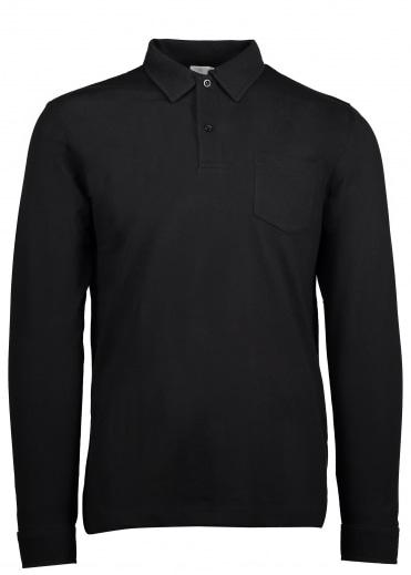 Sunspel Long Sleeve Riviera Polo - Black
