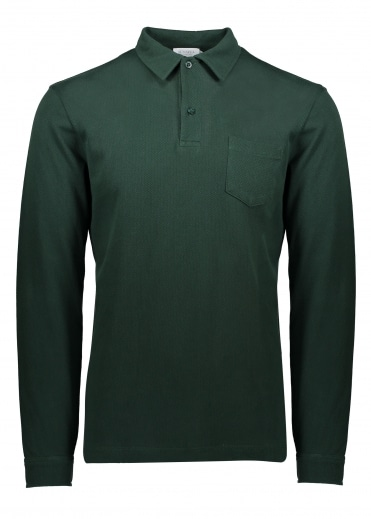Sunspel Long Sleeve Riviera Polo - Bottle Green