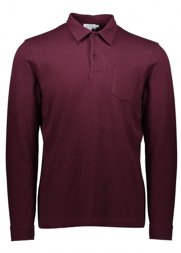 Sunspel Long Sleeve Riviera Polo - Claret