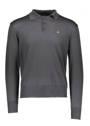 Vivienne Westwood Mens LS Knit Polo - Grey