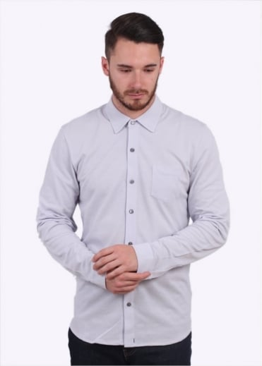 Sunspel LS Pique Button Down Shirt- Grey