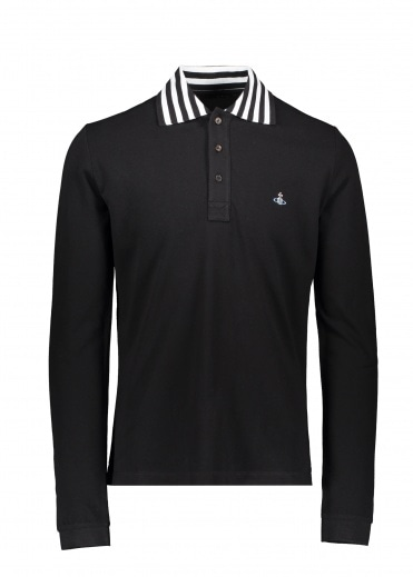Vivienne Westwood LS Stripe Collar Polo - Black