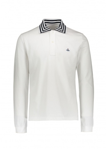 Vivienne Westwood Mens LS Stripe Collar Polo - White