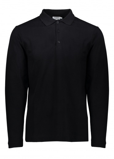 Sunspel LS Textured Polo - Black