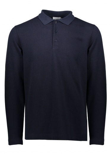 Sunspel LS Textured Polo - Navy