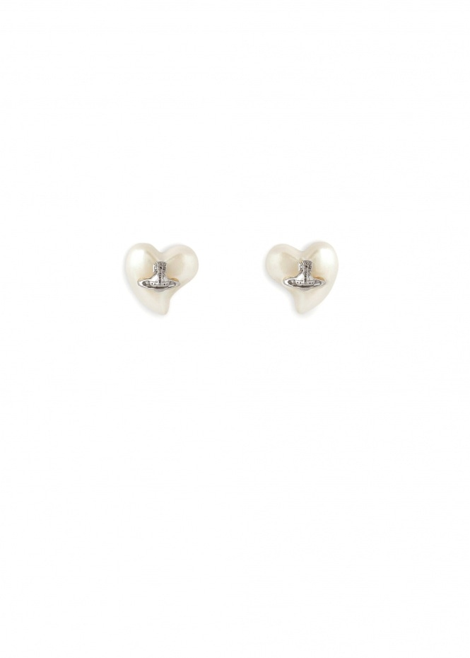 Lynette Earrings W297 - Rhodium / Cream