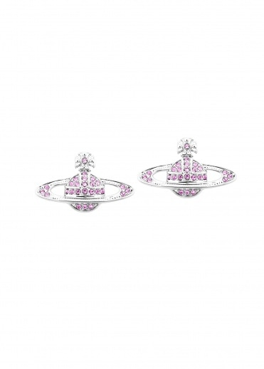 Vivienne Westwood Accessories Mini Bas Relief Earrings - Rhodium / Amethyst