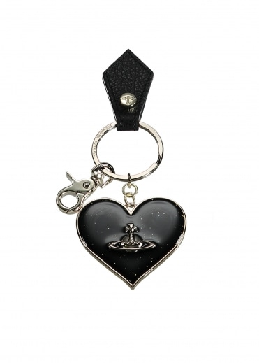 Vivienne Westwood Accessories Mirror Heart Keyring - Black